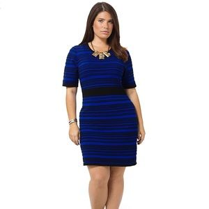 Striped Sweater Dress In Blue